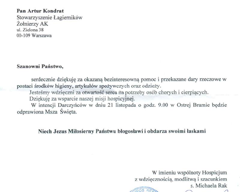Podziękowania zHospicjum bł.ks. Michała Sopoćki wWilnie