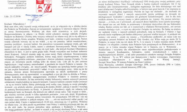 Podziękowania zBiałorusi – Polacy Kresowym Rodakom
