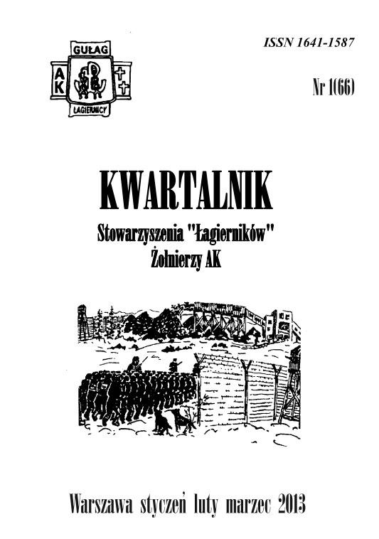 """Kwartalnik Stowarzyszenia """"Łagierników"""" Żołnierzy AK – Warszawa kwiecień maj czerwiec 2013"""
