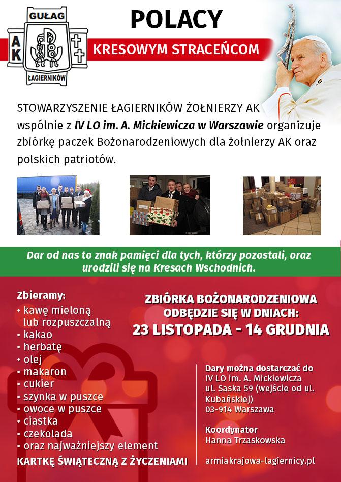 Zbiórka paczek Bożonarodzeniowych – IV LO im.A. Mickiewicza wWarszawie
