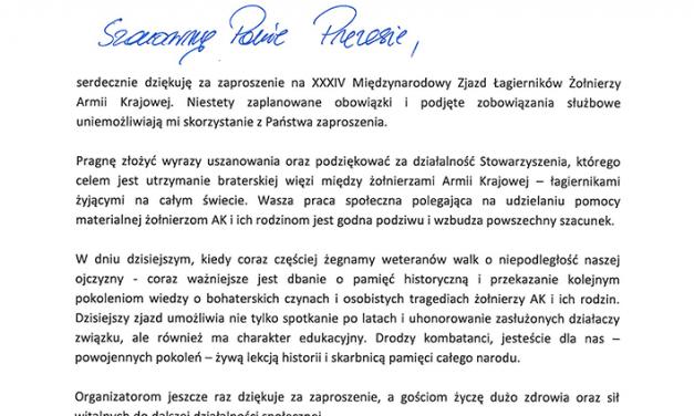 List odStarosty Wołomińskiego