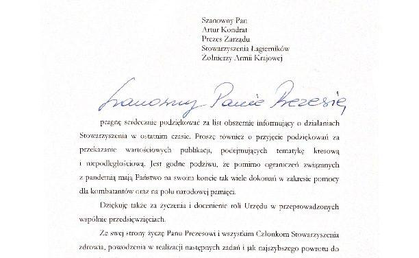 List odSzefa Urzędu dospraw Kombatantów iOsób represjonowanych